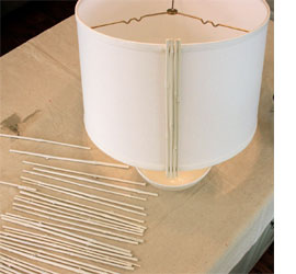 Upcycle a bamboo blind into a lamp shade