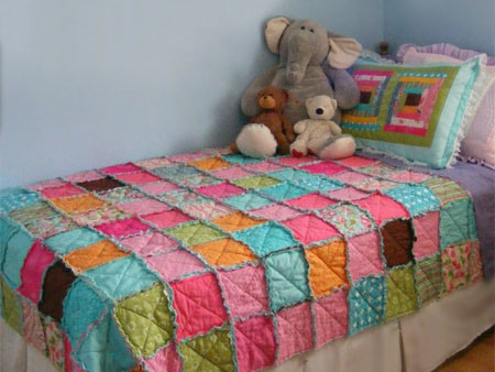 make a patchwork rag quilt