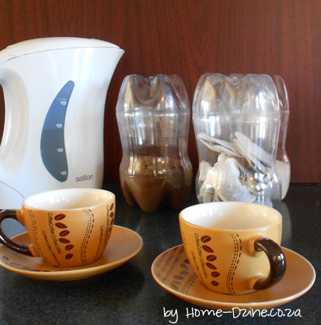 Tea, coffee, sugar containers from plastic bottles