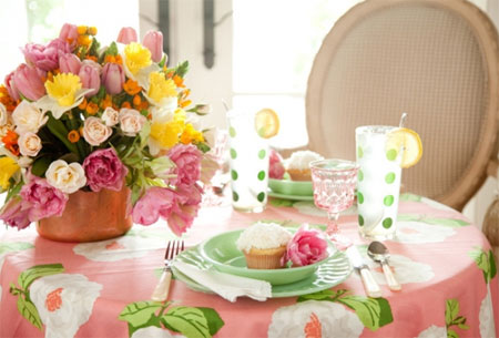 Set the table for spring pink and green