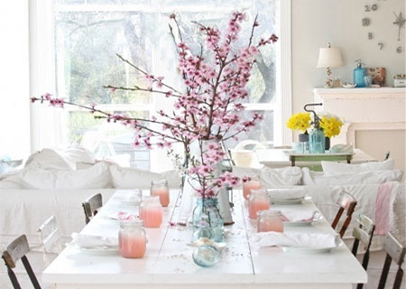 Set the table for spring fresh flowers