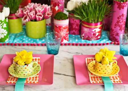 Set the table for spring colourful