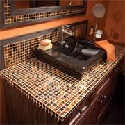 Home dzine bathrooms bathroom decor and design for Mosaic tile vanity top