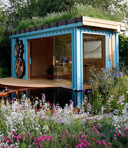 Green Roof Shelters' Container Home Office has a native wildflower growing roof