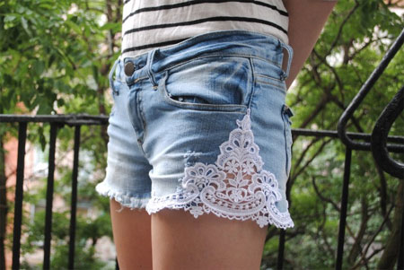 Lace-trimmed jean shorts