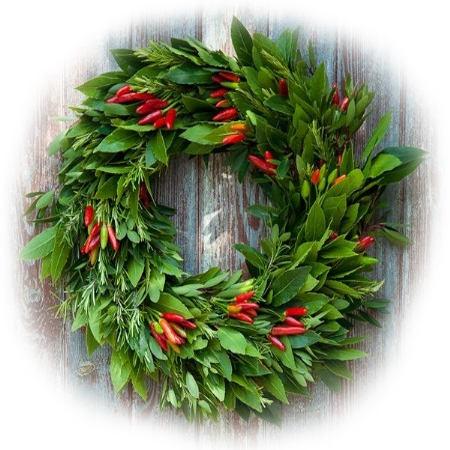 Make your own festive wreath with foliage and peppers