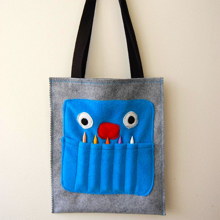 childrens crafty monster tote bag