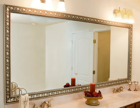 Home dzine bathrooms frame a bathroom mirror - Frame bathroom mirror with moulding ...