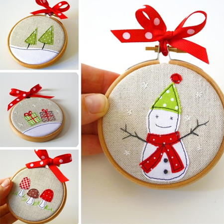 embroidery hoop crafts - Embroidered Christmas Ornaments