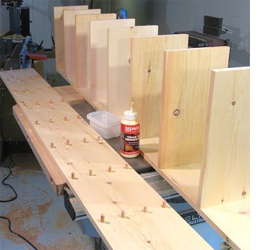 Attach The Shelves Place One Of Side Sections With Dowel Holes On Top A Small Amount Wood Glue In Each Hole And Then Tap Dowels