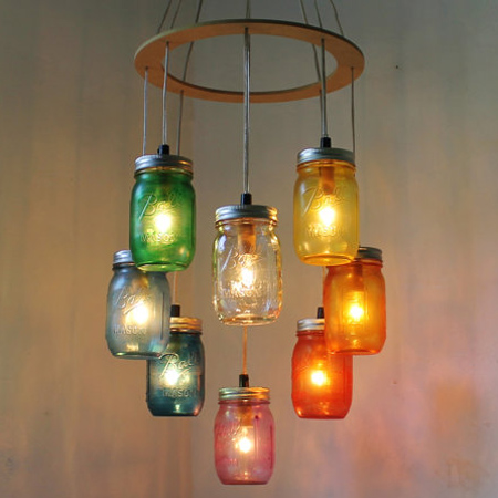 mason jar ideas colourful pendant light