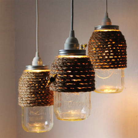 mason jar ideas light fittings wrapped with rope