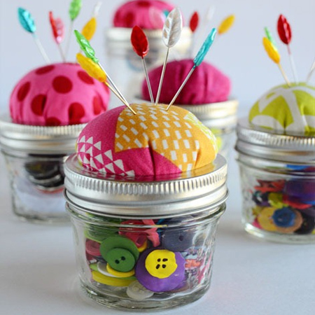 mason jar ideas small sewing cushions for pins