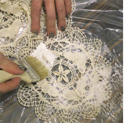 Make your own doily lamp shades