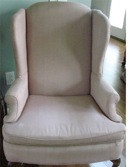 much to do about nothing makes a slipcover for a wingback chair with thin padded armrests - Slipcover For Wingback Chair