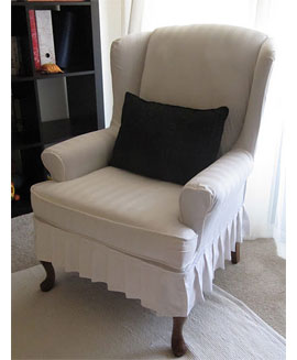 Honey Bear Lane Slipcovers And Old Wingback Chair With Thick Padded  Armrests. The Slipcover On This Design Has A Lovely Pleated Trim.