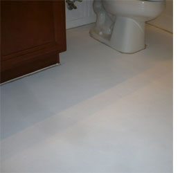 Home dzine bathrooms how to paint a vinyl floor for Paint vinyl floor bathroom