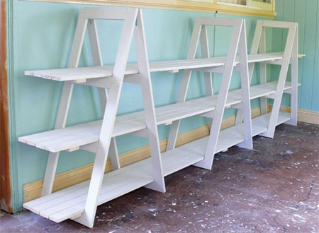 Home dzine home diy build your own trestle shelves for How to build a display shelf