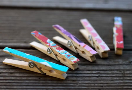 fabric scraps on clothes pegs