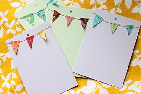 fabric scraps make garlands for greeting cards