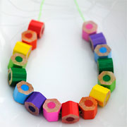 Make a necklace with coloured pencils