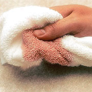 Remove red stains from carpet