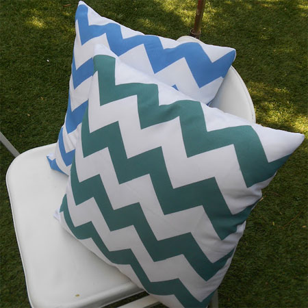 Spray paint on fabric for designer cushions