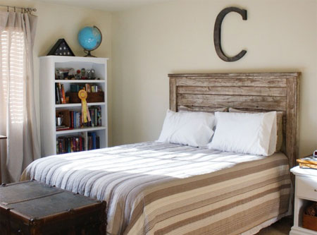 reclaimed timber headboard