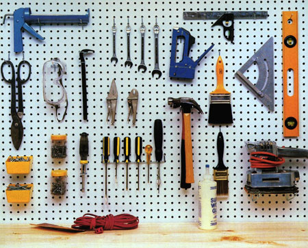 home dzine craft ideas great uses for pegboard. Black Bedroom Furniture Sets. Home Design Ideas