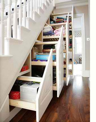 In many homes, the space under a staircase goes to waste. It isn't always  easy to come up with ideas to use this space for practical storage purposes  and ...