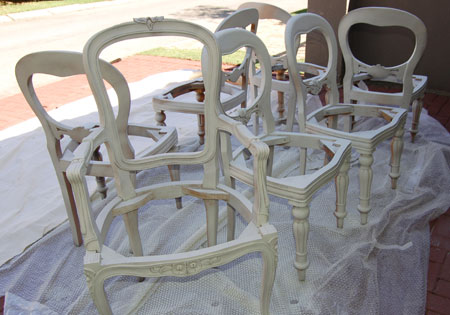 Distress and upholster dining chairs