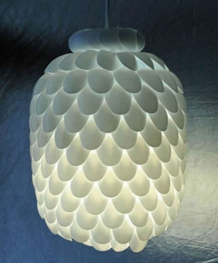 Pendant Shade With Plastic Spoons