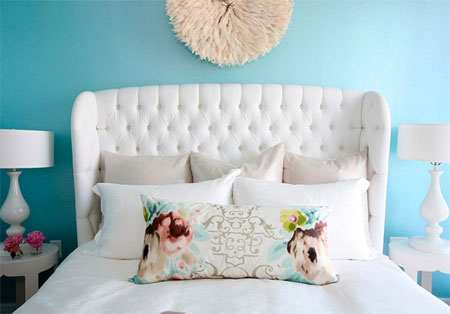 white wing back headboard
