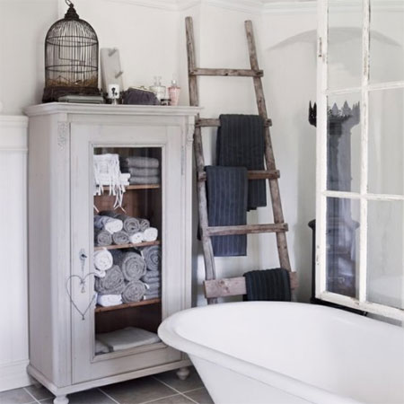Ideas for bathroom shelves stepladder