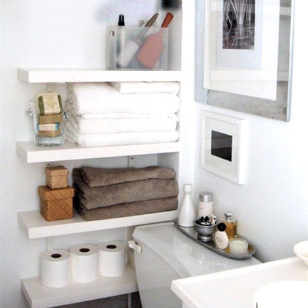 Ideas for bathroom shelves modern floating