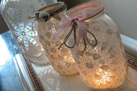 Use fabric or paper doilies to dress up recycled glass jars