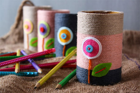 Crafts for tweens recycled cans wrapped with string pencil holders