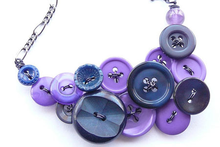 Use buttons, beads and paper to make a vintage necklace