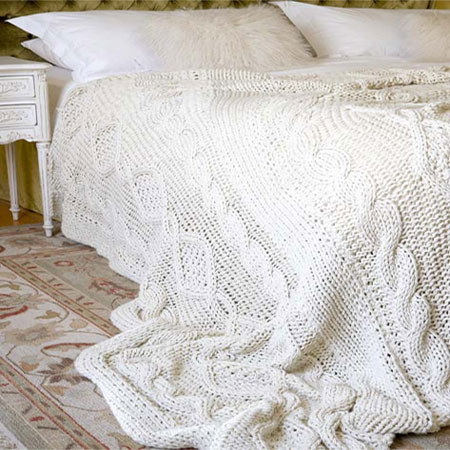 HOME DZINE Craft Ideas Knit a cable bed throw or blanket