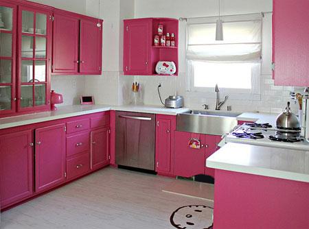Home dzine kitchen colourful pink kitchens for Pink kitchen ideas