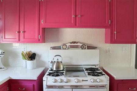 HOME DZINE Kitchen | Hot pink kitchen makeover