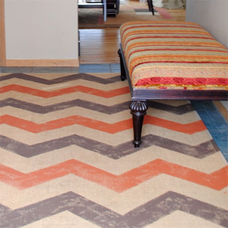 Home Dzine Craft Ideas Paint An Old Rug With Chevron Stripes