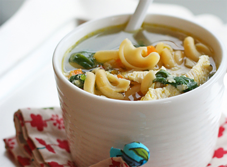 Winter-style chicken noodle soup