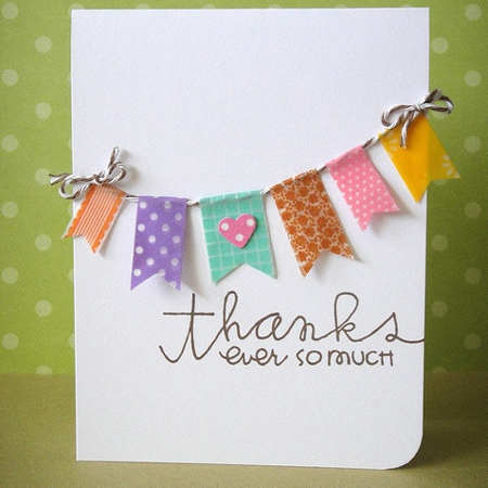 decorate greeting cards with washi tape
