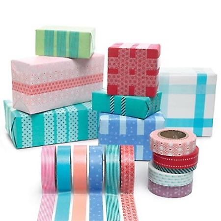 decorate presents with washi tape