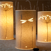 Table lamps using parchment or wax paper