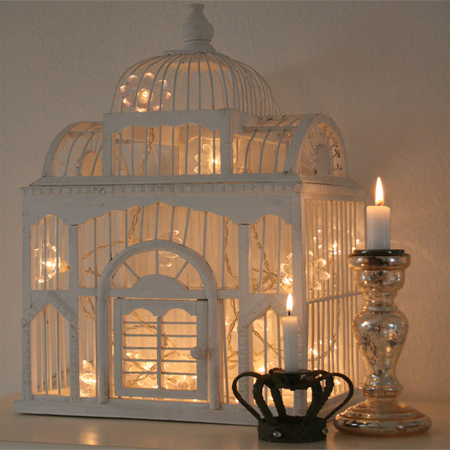 Metal Bird Cage String Lights : HOME DZINE Home Decor Use fairy lights or string lights in new ways