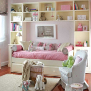 Pink and lime green for a bedroom and bathroom