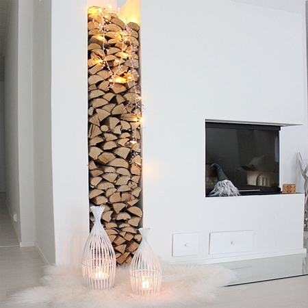 fairy string lights fireplace