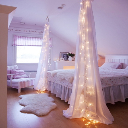 fairy string lights drapes canopy bedroom